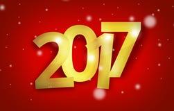 2017 golden red big bold font 3d bokeh design. Design image Stock Images