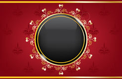 Golden red box with a black ball Stock Images