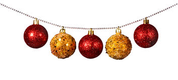 Golden and red Christmas balls Royalty Free Stock Photos