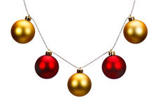 Golden and red Christmas balls Stock Image
