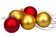 Golden and red Christmas balls Stock Photos