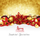 Golden red christmas card Stock Photos