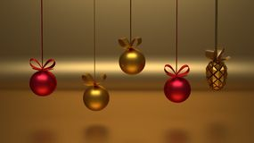 Golden and red Christmas decoration hanging in front of the golden background stock illustration