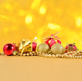 Golden and red Christmas decorations Royalty Free Stock Image