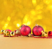 Golden and red Christmas decorations Royalty Free Stock Photography