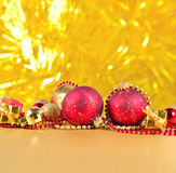 Golden and red Christmas decorations Stock Photos