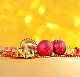 Golden and red Christmas decorations Royalty Free Stock Photos