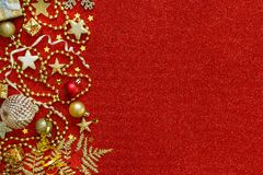 Golden and red Christmas decorations. Top view Stock Photography
