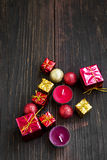 Golden and Red Christmas Gifts, Balls and Candles Decoration Stock Photography