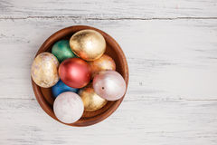 Golden and red Easter eggs Royalty Free Stock Images