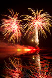 Golden and Red Fireworks Stock Photos