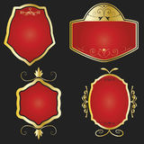 Golden and red framed labels Royalty Free Stock Photography