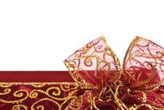 Golden red gift box bow Stock Photo