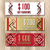 Golden red gift certificate template in art deco outline style Royalty Free Stock Photos