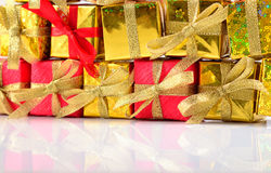 Golden and red gifts close-up Royalty Free Stock Photos