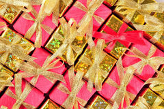 Golden and red gifts Royalty Free Stock Photo