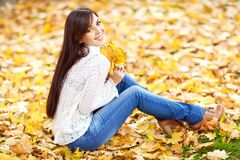 Young brunette woman in autumn colors stock image