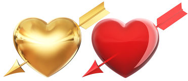 Golden and red hearts Stock Photo
