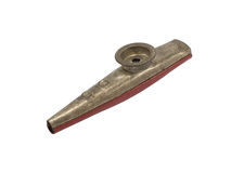 Golden and red kazoo. Old golden and red metal kazoo musical instrument isolated on white background Stock Photography