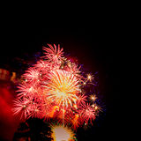 Golden and red large burst.Spectacular fireworks Stock Image