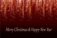 Golden red merry christmas happy new year card royalty free illustration