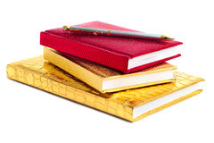 Golden and red notebooks Stock Images