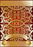 Golden On red Ornate Banner Stock Photography
