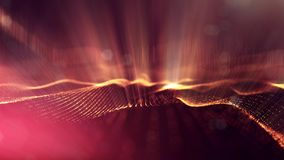 Golden red particles form line and surface grid. microcosm or space. 3d rendering science fiction background of glowing. Particles form line and surface grid vector illustration