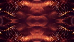 Golden red particles form line and surface grid. microcosm or space. 3d rendering science fiction background of glowing. Particles form line and surface grid Royalty Free Illustration