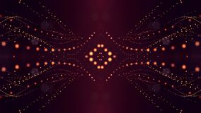 Golden red particles form line and surface grid. microcosm or space. 3d rendering science fiction background of glowing. Particles form line and surface grid stock illustration