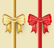 Golden and red ribbons Stock Photos