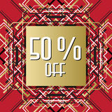 Golden red sale banner template in art deco outline style. Big sale special promotion card template in art deco outline style. Holiday background mock for banner Royalty Free Stock Image