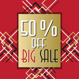 Golden red sale banner template in art deco outline style. Big sale special promotion card template in art deco outline style. Holiday background mock for banner Stock Images