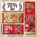 Golden red sale banner template in art deco outline style. Big sale special promotion card template in art deco outline style. Holiday background mock for banner Stock Image