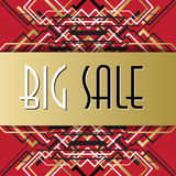 Golden red sale banner template in art deco outline style Stock Image