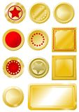 Golden red seals and labels Stock Photography