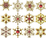 Golden-Red Snowflakes Stock Photo