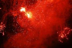 Golden-red fireworks night sky Stock Photos