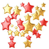 Golden and red stars flying isolated on white background. Holiday concept Royalty Free Stock Photos