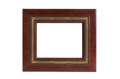 Golden red wood picture frame Stock Photo