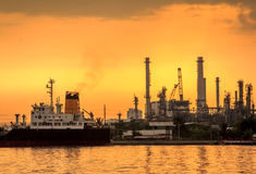 Golden Refinery Twilight Royalty Free Stock Photography