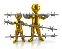 Golden refugee and barbed wire Royalty Free Stock Photos
