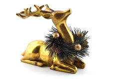 Golden reindeer. Ornament with wreath isolated on white background with copy space Stock Photo