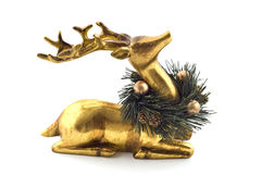 Golden reindeer. Ornament with wreath isolated on white background with copy space Stock Photography