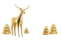 Golden reindeer Stock Images