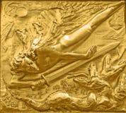 Golden relief, Boettcherstrasse, Bremen Stock Image