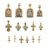 Golden religion jewelry Stock Photo