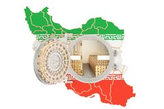 Golden reserves of Iran concept, banking vault with gold bars. 3 Stock Photography