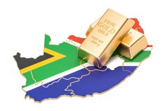 Golden reserves of South Africa concept, 3D rendering Royalty Free Stock Photography