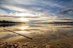 Golden Reservoir Sunset Stock Photos